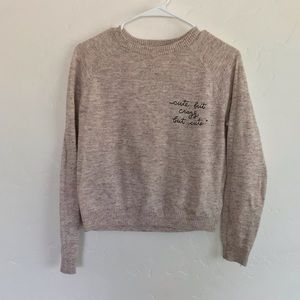 Forever 21 Cream Graphic Print Cropped Sweater Med